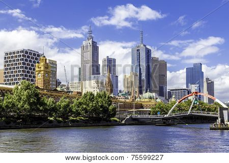 MELBOURNE, AUSTRALIA - CIRCA JAN 2014: Melbourne attracted more than 500,000 visitors to the city centre and lit up its buildings as works of art.