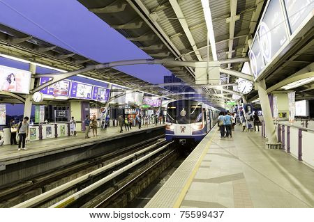 BANGKOK, THAILAND - CIRCA MAY 2014: Sky Train Station. The Bangkok Mass Transit System, commonly known as the BTS or the Skytrain, is a futuristic elevated rapid transit system.