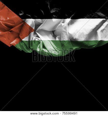 Palestine waving flag on black background