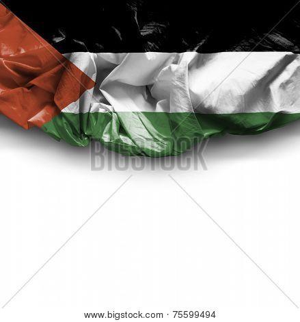 Palestine waving flag on white background