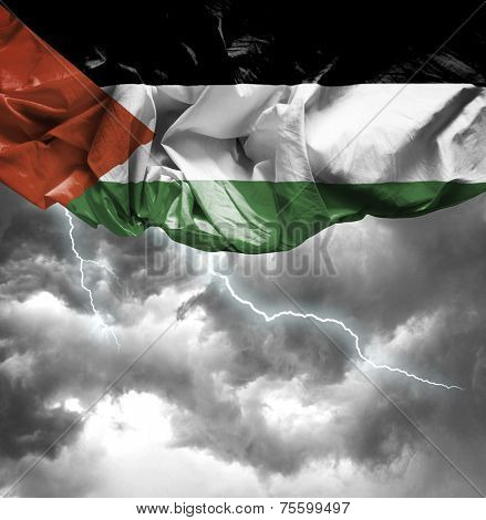 Palestine waving flag on a bad day