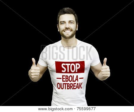 Campaign Stop Ebola Outbreak by a man on black background
