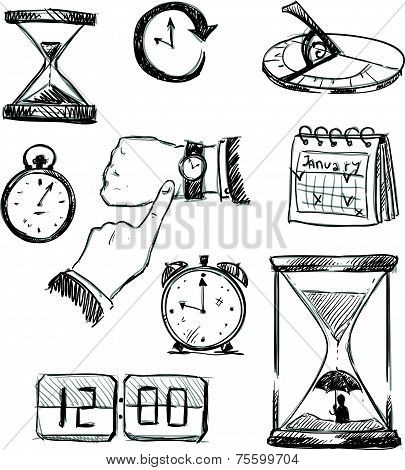 Freehand sketch of time symbols. Time icons. Vector illustration.