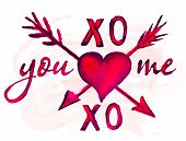 pic of xoxo  - Watercolor you and me lettering heart and arrows set - JPG