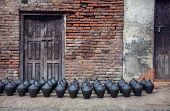 image of nepali  - Pottery square in Bhaktapur Kathmandu valley Nepal - JPG