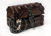 picture of treasure  - wooden jewelery box packed with accessories - JPG
