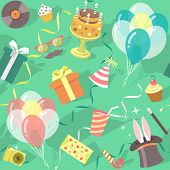 picture of birthday hat  - Modern flat vector seamless birthday party pattern with colorful icons of gift boxes - JPG