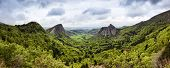 picture of volcanic  - Panoramic view of volcanic landscape at the Auvergne region - JPG