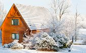 image of log cabin  - Beautiful sunny day in the winter with view on the log cabin - JPG