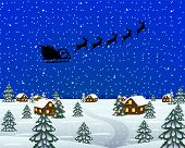 foto of sleigh ride  - Evening landscape at Christmas Santa Claus in sleigh - JPG