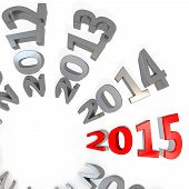 stock photo of happy new year 2013  - 3d Happy New Year 2015 on white background - JPG