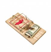foto of mouse trap  - Hundred Dollars Bill in Mouse Trap over white background  - JPG