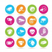 pic of cctv  - set of 16 cctv icons on colorful round buttons - JPG