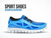 stock photo of insole  - Running blue shoes - JPG