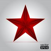 stock photo of communist symbol  - Red star over white background - JPG