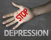 picture of antidepressant  - Creative composition with the message Stop Depression - JPG