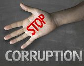 stock photo of immoral  - Creative composition with the message Stop Corruption - JPG