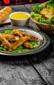 picture of baguette  - Corn crusted Chicken Tenders with spinach and toast honey - JPG