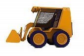picture of bulldozer  - Orange bulldozer on wheels isolated on white - JPG