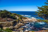 stock photo of bixby  - The Big Sur and its rocky coastline on a wonderful day in USA - JPG
