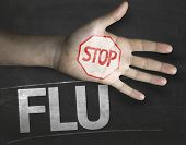 stock photo of flu shot  - Educational and Creative composition with the message Stop Flu on the blackboard - JPG