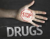 foto of overdose  - Educational and Creative composition with the message Stop Drugs on the blackboard - JPG