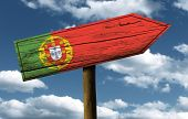 image of fatima  - Portugal flag wooden sign with a beautiful sky on background  - JPG