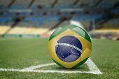 image of brasilia  - Brazil soccer ball on the soccer field - JPG