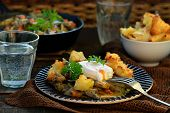 image of posh  - mushroom ragout with poshed egg also croutons
