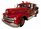 stock photo of firehouse  - Isolated image of an old firetruck - JPG