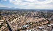 image of freightliner  - Train yard from above in Tucson Arizona