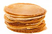 picture of brighten  - Pack of freshly waffle cookies on white background brightened - JPG