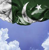 stock photo of pakistani flag  - Pakistan waving flag on a beautiful day - JPG