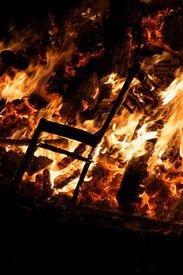 foto of guy fawks  - Chair burning in Guy Fawkes Night bonfire - JPG