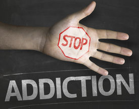 picture of crack addiction  - Educational and Creative composition with the message Stop Addiction on the blackboard - JPG