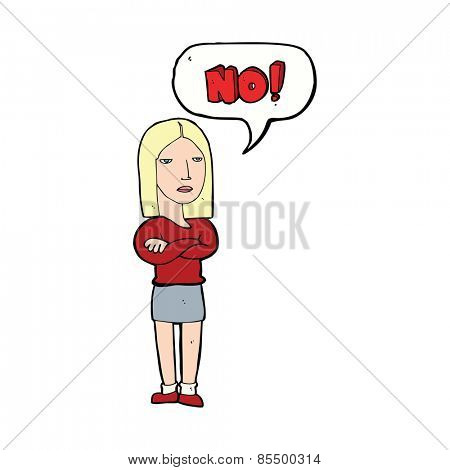 cartoon woman saying no