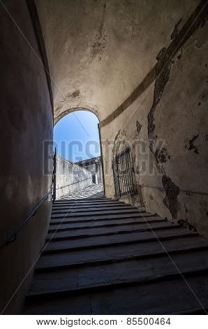 Stone Corridor With Stairway In Palazzo Pitti, Florence, Italy