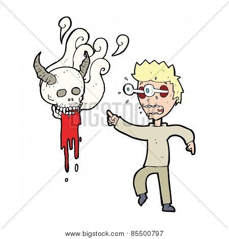 cartoon man haunted by ghost