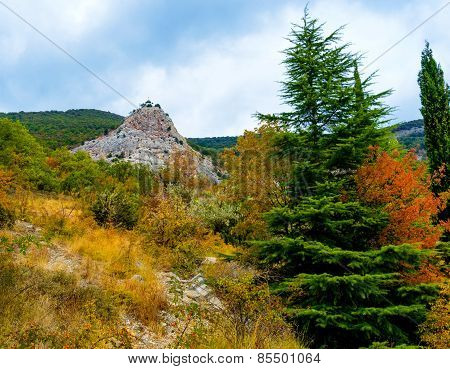 Church on rocky mountain