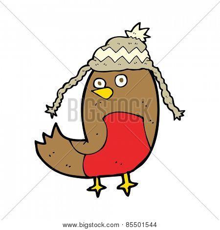 cartoon robin in hat