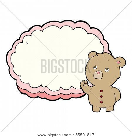 cartoon teddy bear with text space cloud