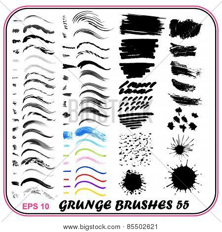 Set Of Grungy Brushes Watercolor, Pen