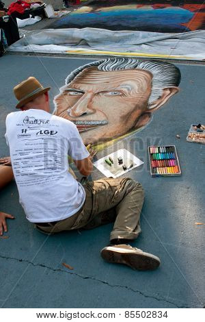 Chalk Artist Draws Vincent Price On Street For Halloween