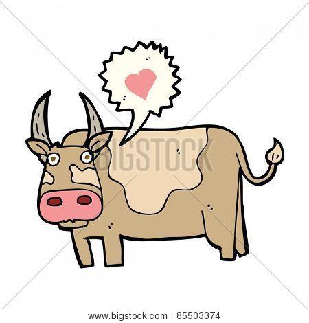 cartoon cow with love heart