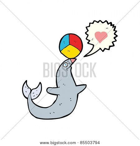 cartoon seal with ball
