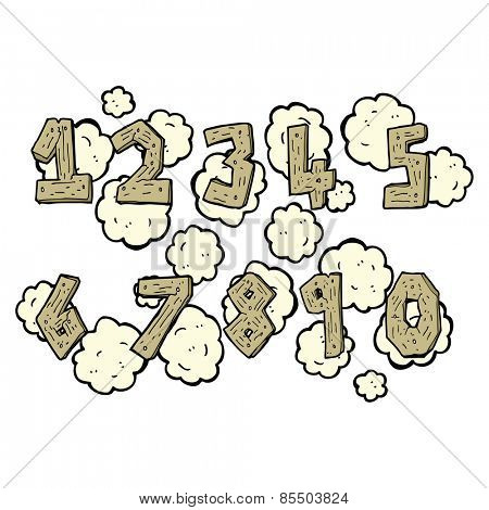 wooden cartoon numbers set