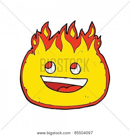 cartoon happy flame character