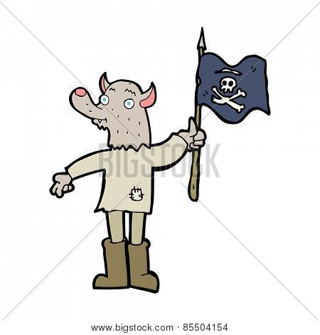 cartoon wolf man waving pirate flag