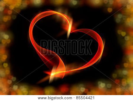 Red Ribbon Heart With Colorful Bokeh Lights, Illustration