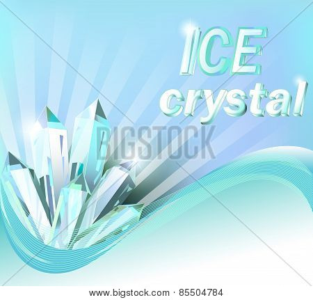 Background With Shiny Crystals Of Ice And Wave